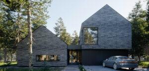 Ceglany dom w lesie pracowni Z3Z Architekci