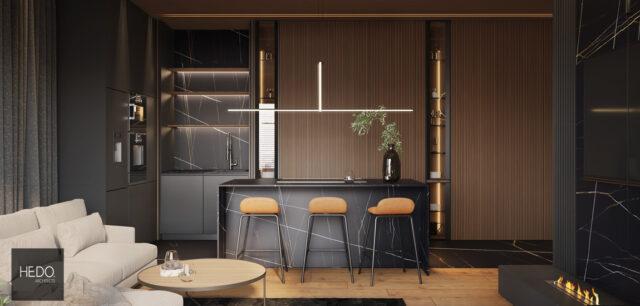 Wyraziste, eleganckie i pełne nowoczesnych form wnętrza mieszkania projektu Hedo Architects