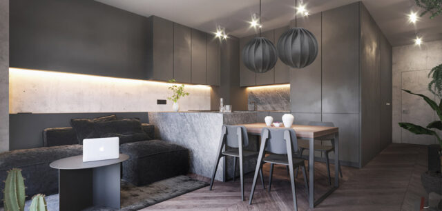 Wnętrza mieszkania dla młodej kobiety – miłośniczki ciemnych kolorów i loftowego stylu