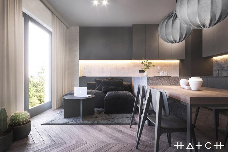 Wnętrza mieszkania w loftowym klimacie. Projekt:HATCH Studio