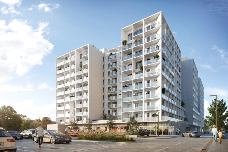 Budynek mieszkalny Braniborska, Wrocław. Projekt architektoniczny:Q2Studio. Wizualizacje:BLOK studio