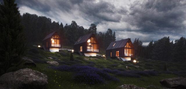 Minimalistyczne domki letniskowe w Beskidach Zachodnich projektu Underground Architects Group