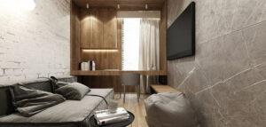 Elegancka metamorfoza mieszkania z rynku wtórnego. Drewno, naturalny kamień i nowoczesne wzornictwo.