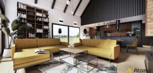 Wnętrza nowoczesnej stodoły projektu studia Atoato