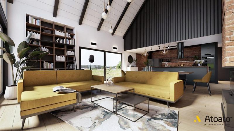 Wnętrza domu typu nowoczesna stodoła. Projekt wnętrz: Atoato