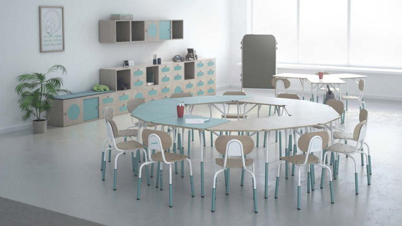Zestaw mebli szkolnych dla firmy PILCH z Ustronia. Projekt: ALGORYTM DESIGN