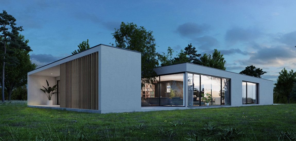 Dom z atrium pełnym zieleni projektu YONO ARCHITECTURE