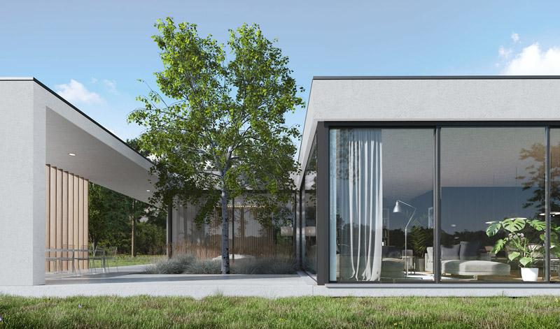 Dom jednorodzinny w Bydgoszczy. Projekt:YONO ARCHITECTURE | Sebastian Marach. Wizualizacje:GID Studio