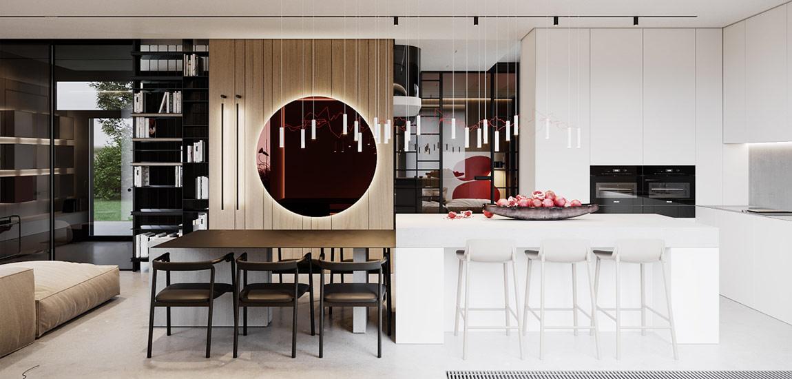 Eleganckie wnętrza domu zaaranżowane nowoczesnymi formami i efektownymi dodatkami