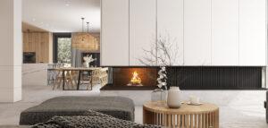 Cegła, beton i marmur w stylowych wnętrzach domu Pracowni architektury Symetria