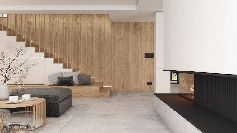Wnętrzedomu pod Poznaniem. Projekt:SYMETRIA Pracownia Architektury