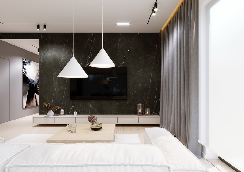 Eleganckie wnętrza domu dla 3-osobowej rodziny. Projekt: kaim.work