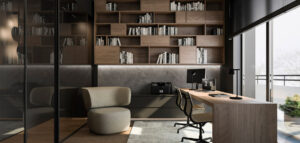 Naturalna gama barw szarości, beżów i brązów w apartamencie projektu TK Architekci