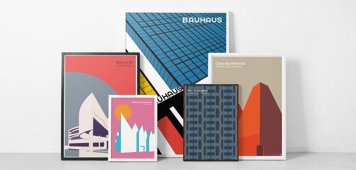 Architektoniczne plakaty autorstwa Piotra Zybury w Muzeum Architektury