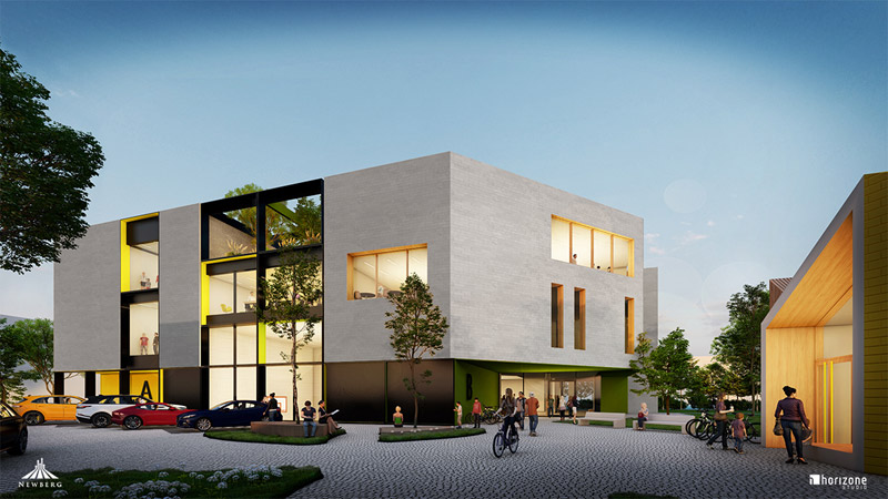 Ekologiczna szkoła i przedszkole w prestiżowej dzielnicy Krakowa. Architekt: Horizone Studio Sp. z o.o. Sp.k