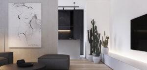 Biel i czerń w wyjątkowym zestawieniu. Elegancki apartament projektu DEKAA architects