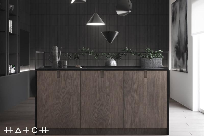 Wnętrza mieszkania w ciemnych tonach. Projekt:HATCH Studio
