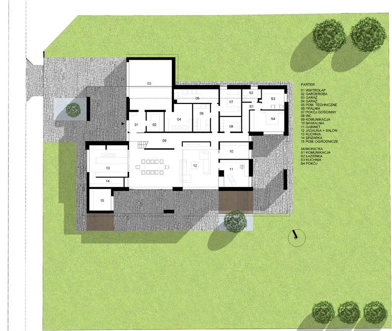 Dom z wnękami. Projekt:RS+ Robert Skitek