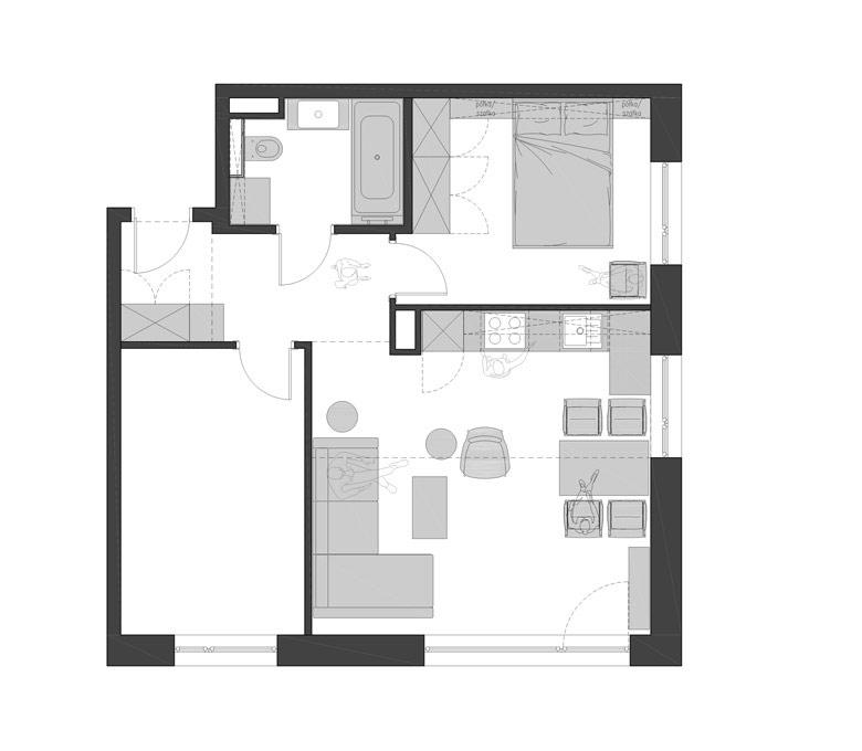 Mieszkanie pełne kontrastów w Kościerzynie. Projekt wnętrz: _slab_ | Studio architektoniczne