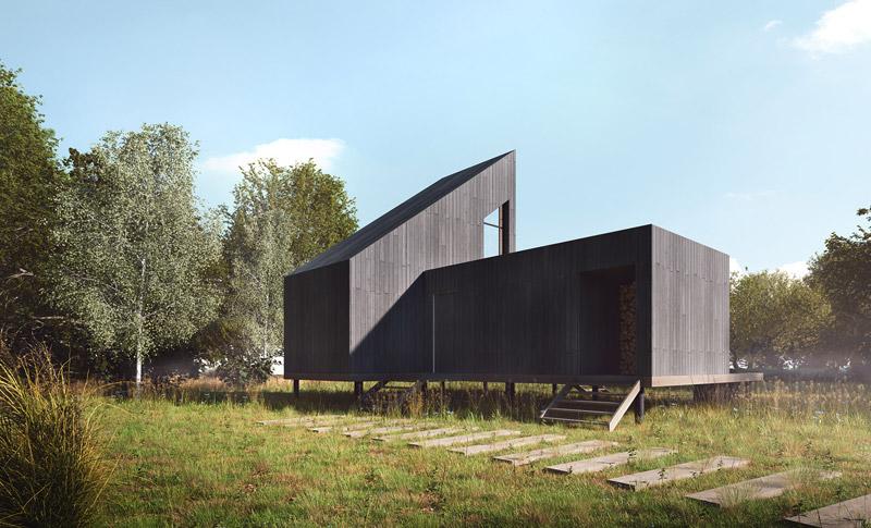Domek letniskowy w Strachowie. Projekt:YONO ARCHITECTURE. Wizualizacje:GID Studio