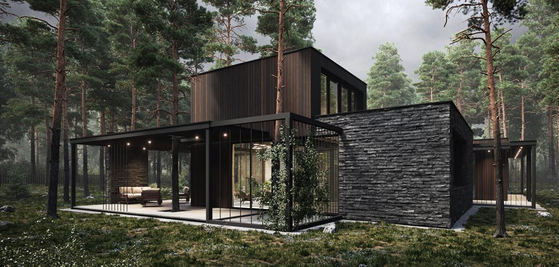 Las w niezwykłych kadrach. Dom otwarty na otaczającą zieleń.