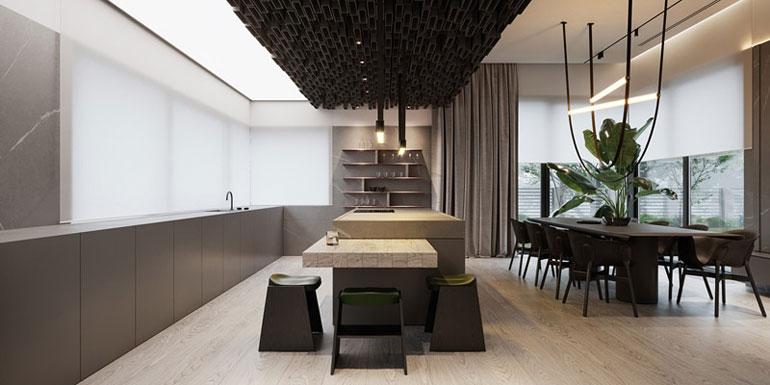 Wnętrza domu z patio w Warszawie. Projekt wnętrz:hilight.design