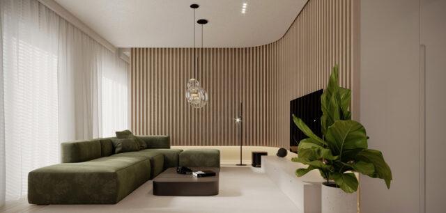 Ciepłe tonacje i niebanalne formy we wnętrzach mieszkania projektu KAEL Architekci