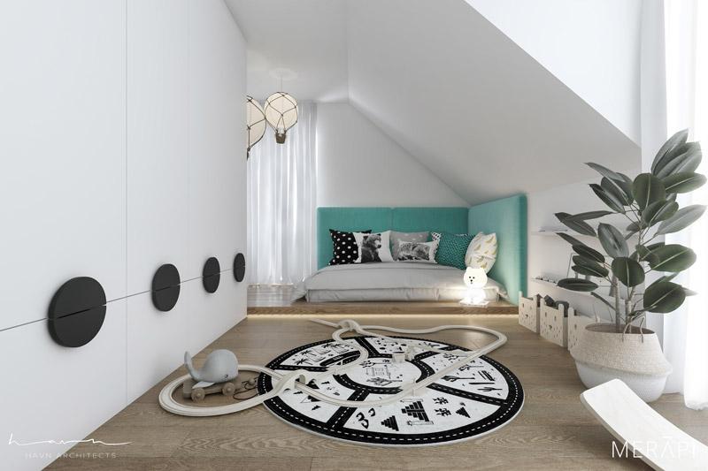Aranżacja poddasza w domu jednorodzinnym. Projekt wnętrz:Merapi Architects, Havn Architects