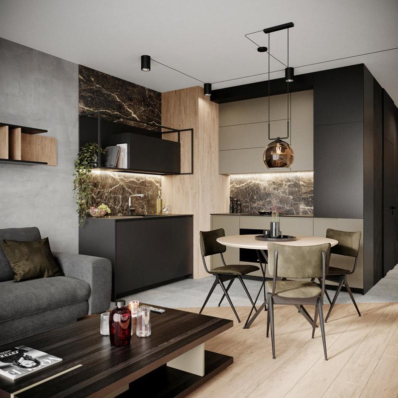 Nowoczesne mieszkanie dla singla, Warszawa. Projekt wnętrz:_slab_ Studio architektoniczne
