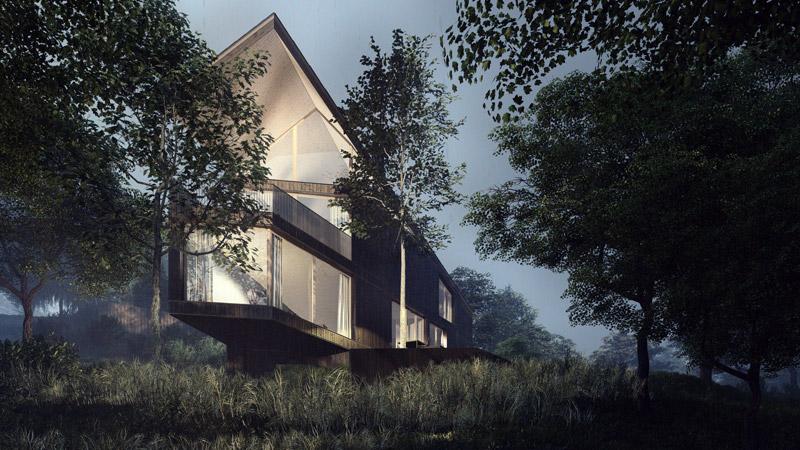 Dom rekreacyjny nad jeziorem Ślesińskim. Projekt:ENDE   Marcin Lewandowicz. Wizualizacje: Łukasz Preiss