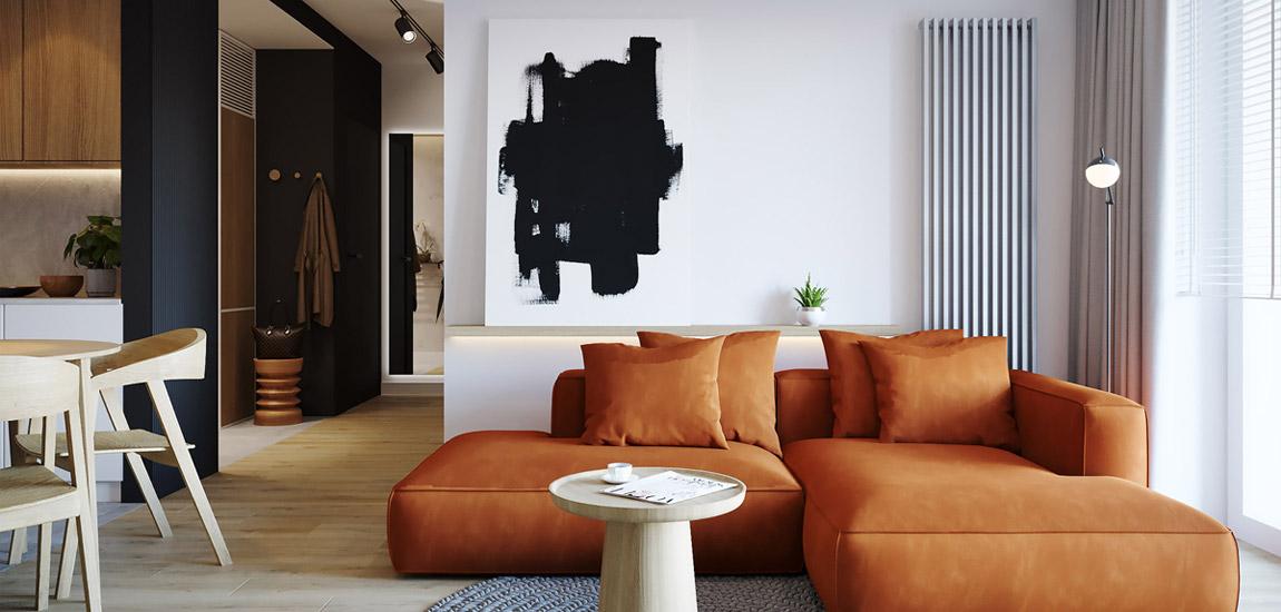 Kontrastowe i pełne życia zestawienie faktur i kolorów w poznańskim mieszkaniu
