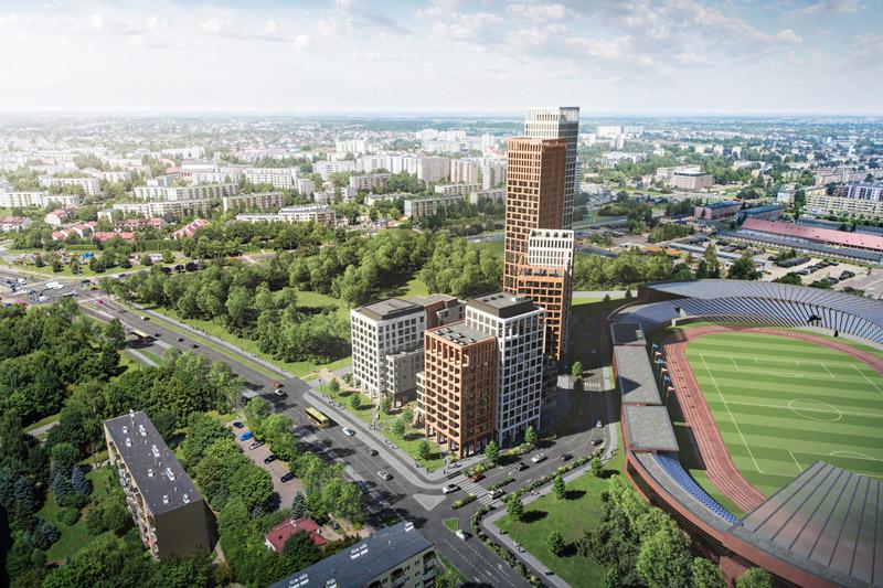 Kompleks mieszkaniowy Resovia Residence w Rzeszowie. Projekt: MWM Architekci. Wizualizacje: Vivid-Vision