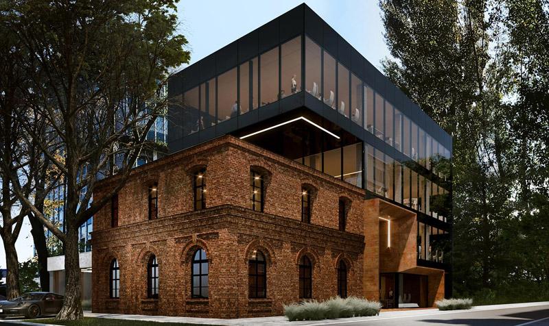 Butikowy biurowiec XS Wigury Office, Łódź. Projekt:REFORM Architekt | Marcin Tomaszewski