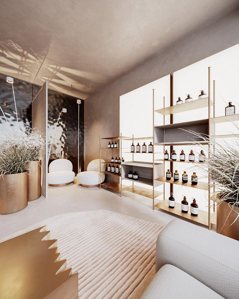 Aranżacja wnętrz salonu piękności w Paryżu. Projekt:hilight.design