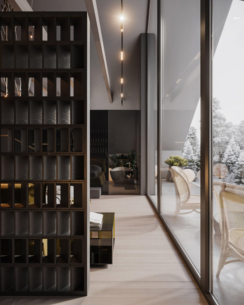 Nowoczesne wnętrza domu w górach. Projekt:hilight.design