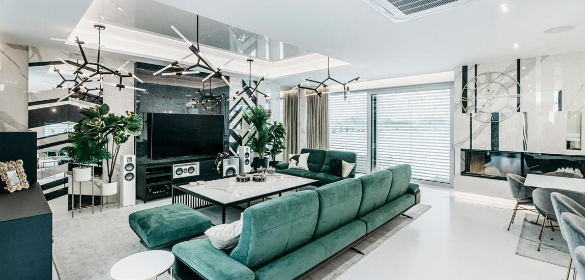 Luksusowe wnętrza domu. Projekt: Karina Frątczak   Miara i Metr. Zdjęcia: Damian Rutkowski