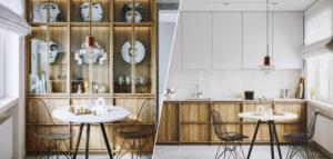 Ciepła kompozycja bieli, szarości i brązowionego drewna we wnętrzach projektu studia we're architects