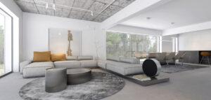 Nowoczesne, miejscami surowe i minimalistyczne wnętrza domu w tonacjach bieli i szarości