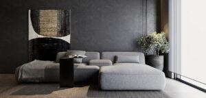 Eleganckie wnętrza apartamentu w głębokich, ciemnych tonach