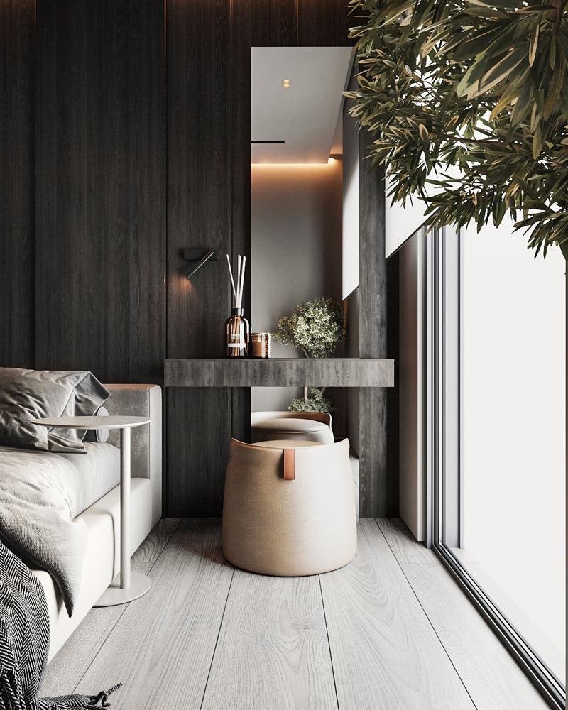 Elegancki apartament w ciemnych barwach, Kraków. Projekt wnętrz: Aeteam.design