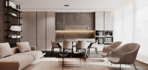 Eleganckie i stylowe mieszkanie w odcieniach brązu