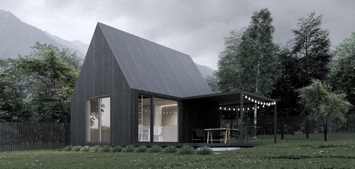 Minimalistyczny domek letniskowy dla rodziców projektu studia mogaa