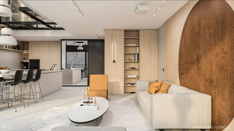 Dwupoziomowe mieszkanie z loftowymi akcentami. Projekt wnętrz:TK Architekci