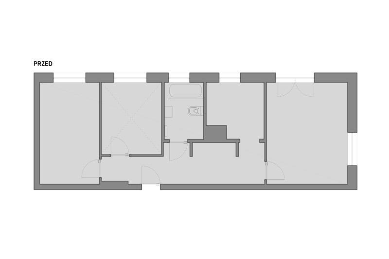 Rzut mieszkania przed pracami projektowymi