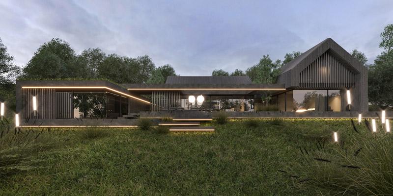 Projekt domu jednorodzinnego. Autorzy: Mokaa Architekci