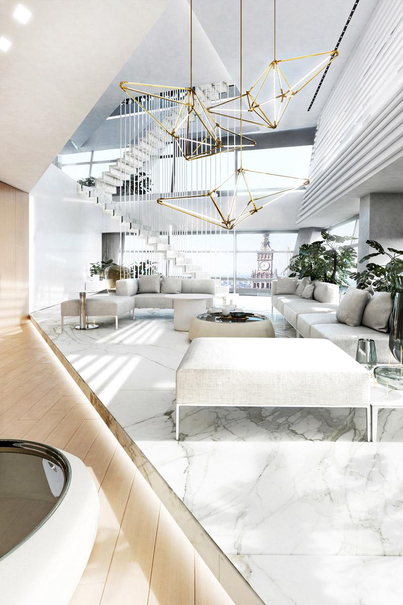 Projekt wnętrza - penthouse. Autorzy: Mokaa Architekci