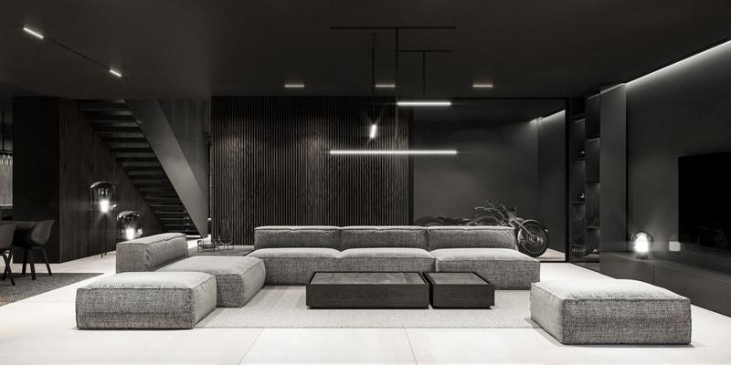 Projekt wnętrza salonu. Autorzy: Mokaa Architekci