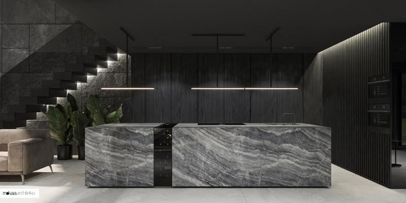 Projekt wnętrza kuchni. Autorzy: Mokaa Architekci