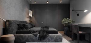 Nowoczesne formy oraz kontrastowe połączenia barw i faktur we wnętrzach mieszkania