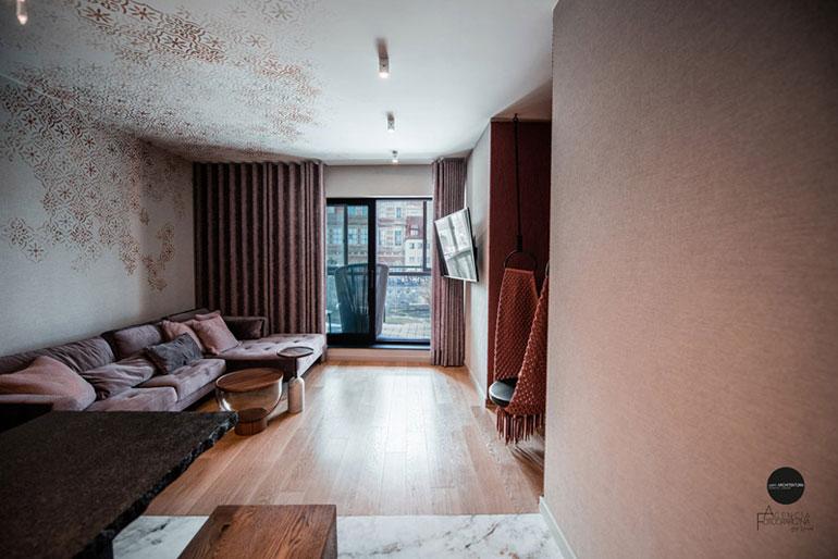 Klimatyczny apartament z widokiem na Motławę, Deo Plaza, Gdańsk. Projekt:LOFFT Architektura Wnętrz
